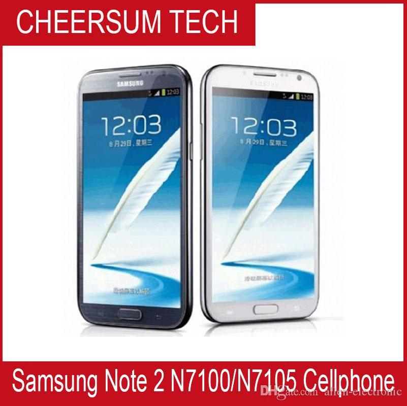 Desbloqueado Original Samsung Galaxy Note II 2 N7100 3G N7105 4G 8MP Câmera Quad-Core 2GB RAM GSM 3G 5,5 '' toque Remodelado telefone