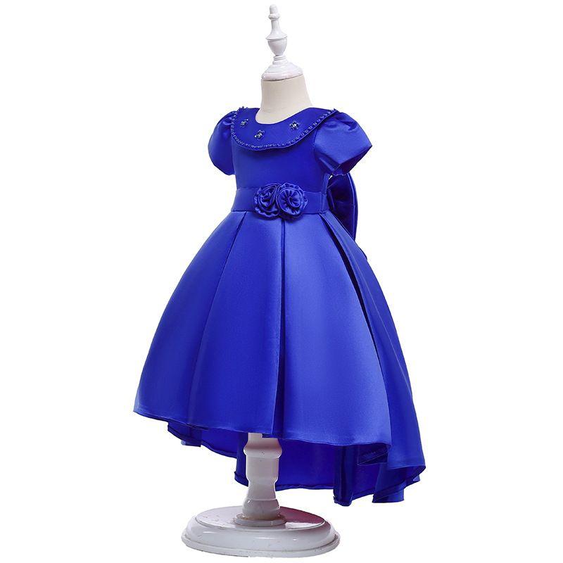 Long Satin Ball Gown Flower Girls Dresses Simple Kids Wedding Party Dress First Communion Dresses For Girls