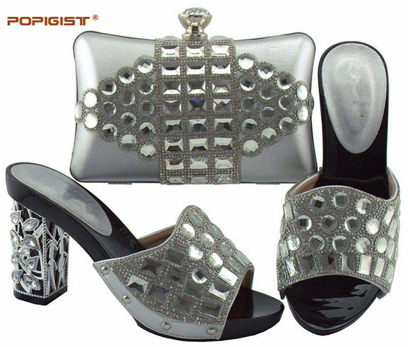 실버 컬러 샌들 높은 뒤꿈치 10cm 웨딩 드레스 신발 일치하는 가방으로 사용자 정의 행사 펌프 지갑 고품질