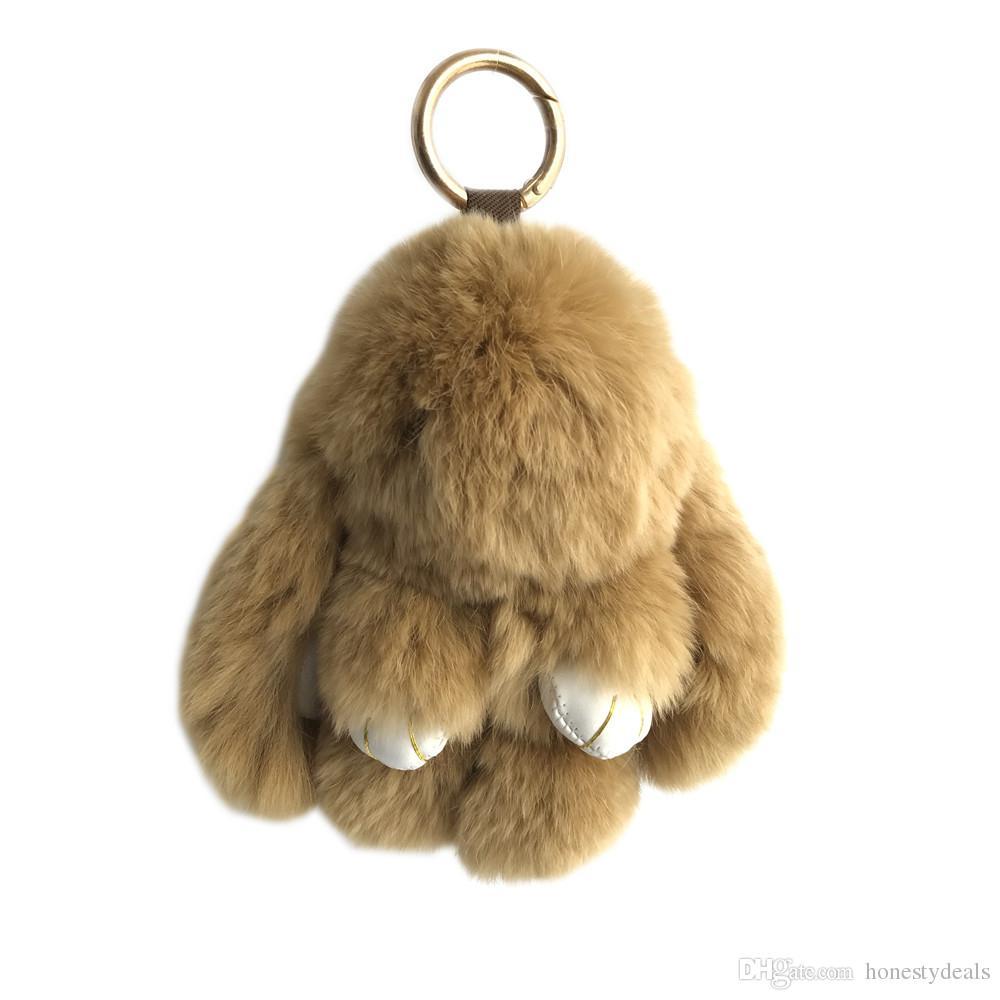 "15cm/6"" Brown-Hot Sale 100% Genuine Real Rabbit Rex Fur Bunny Tassels Keychain Pendent Purse Toy doll"
