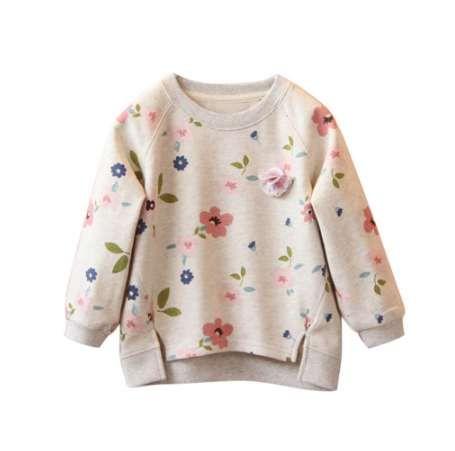 Мода новорожденных девочек цветочные кофты малыша Дети свитер с длинным рукавом зима топы футболки блузки хлопок толстовки #IL5