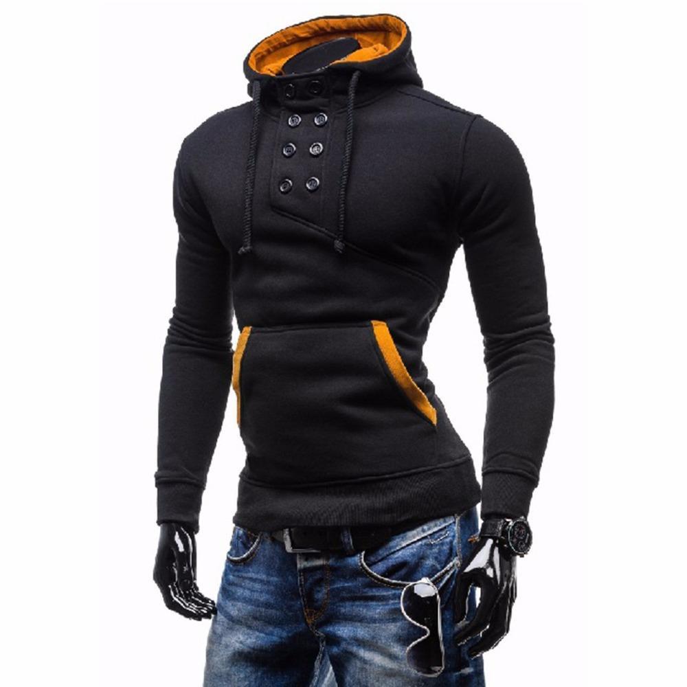 Otoño Invierno Hoodies Hombres Marca de Moda Pullover Solid Turtleneck Sportswear sudadera negro para aptitud masculina Chándales Botón