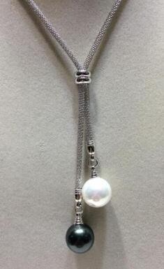 """free shippingwholesale 26"""" 14mm white black SOUTH SEA SHELL PEARL NECKLACE"""