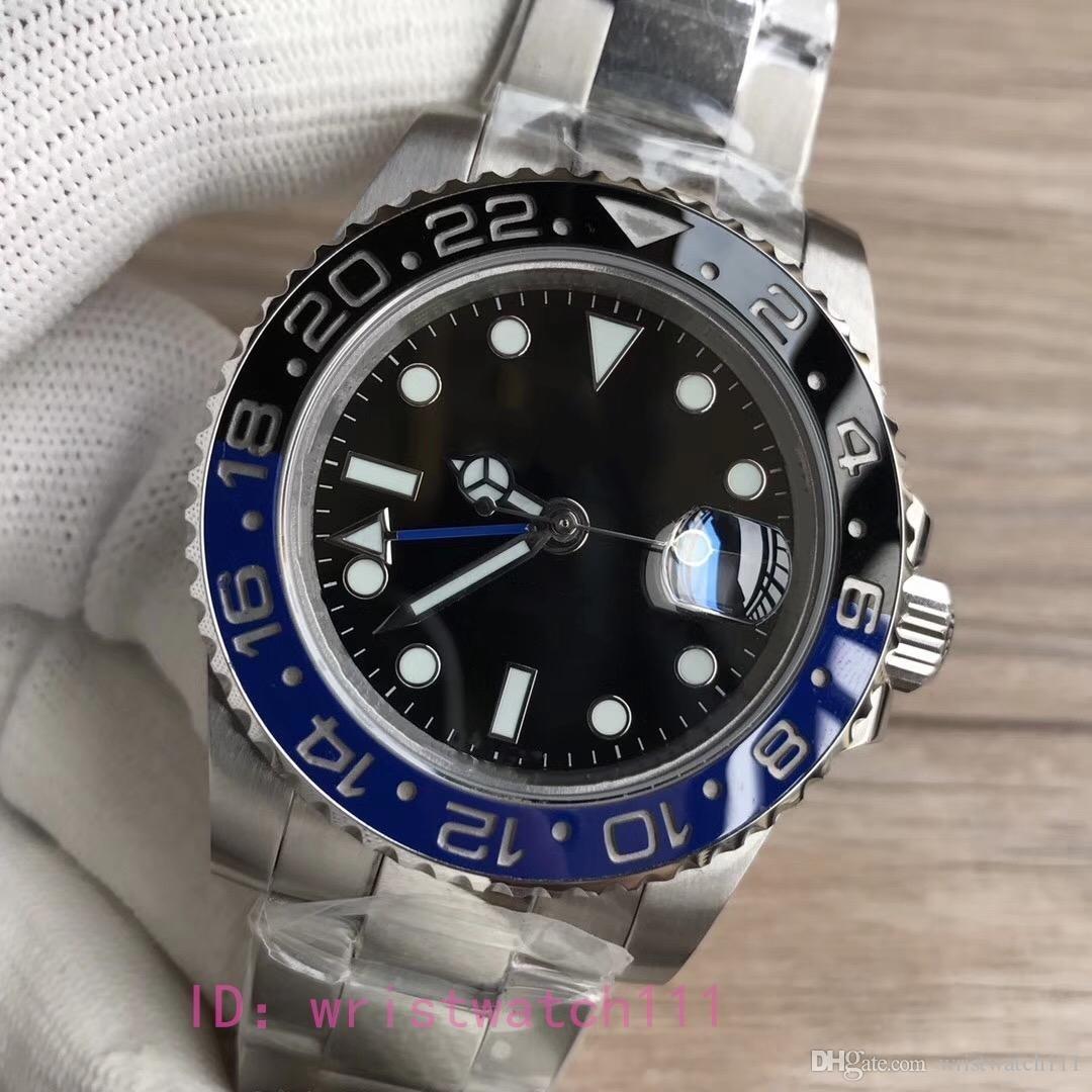 2018Il più popolare regalo di Natale automatico top brand di lusso orologio in acciaio inossidabile nero quadrante blu mens orologi meccanici