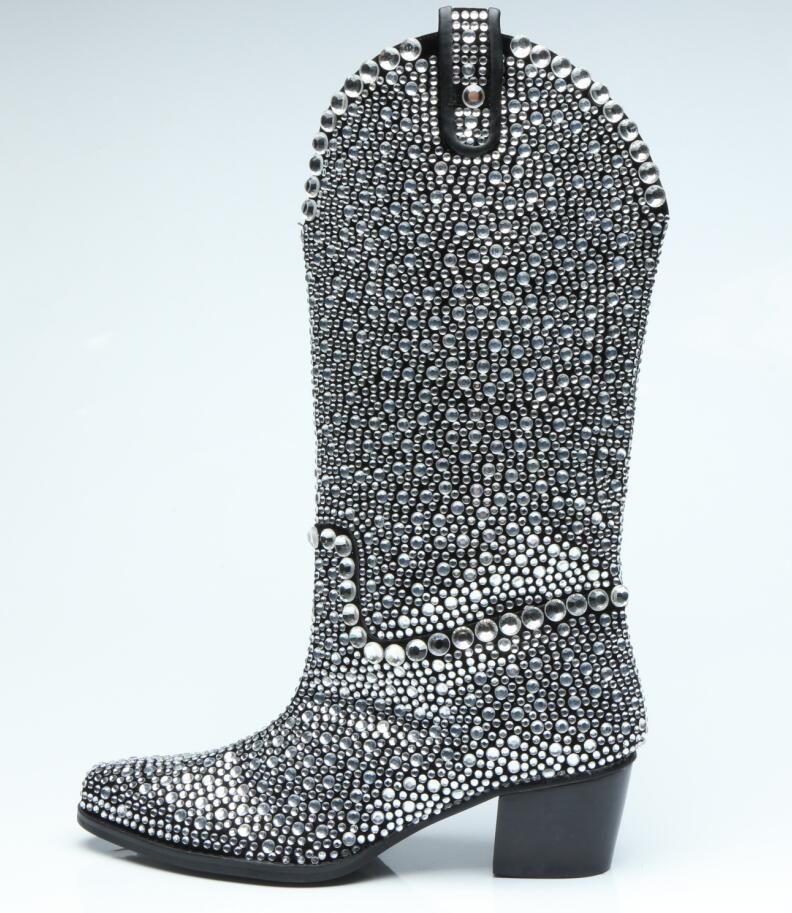 2018 nuevas mujeres medias botas de diamantes botines punta estrecha mujer botas zapatos de fiesta glitter sparkle botas mujeres