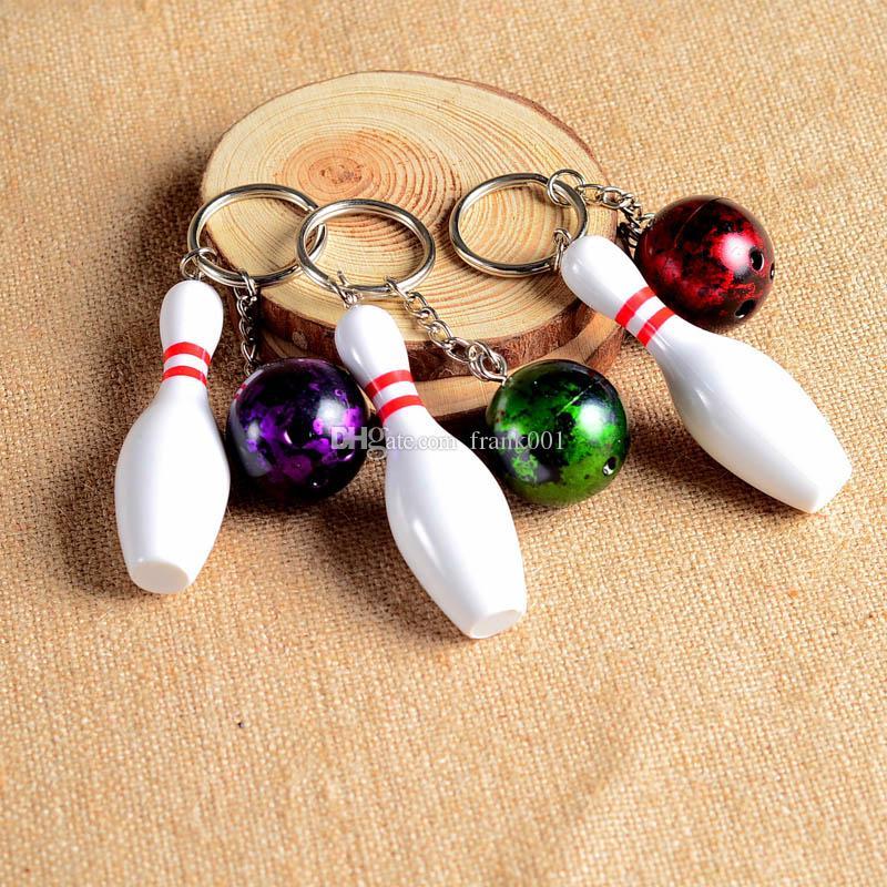 3d البولينج الكرة سلاسل المفاتيح متعددة الألوان عارضة أسلوب رياضي الرجال النساء المراهقين مفتاح حلقة المفاتيح السفينة حرة