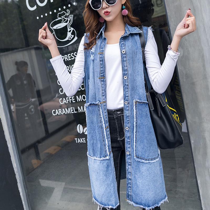 Jeans Vest 2018 Molla Donne Gilet da donna allentato Casual Strappato Jeans Long Jeans Gilet per donna Vintage Senza maniche Denim Cappotto LF84-1629