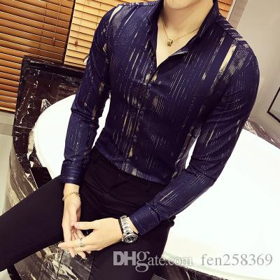 Luxe Or Chemise Hommes 2017 Nouveau Manches Longues Noir Blanc Navy Party Club Sexy Night Bar Stage Vêtements Chemise Homme Chemise Homme