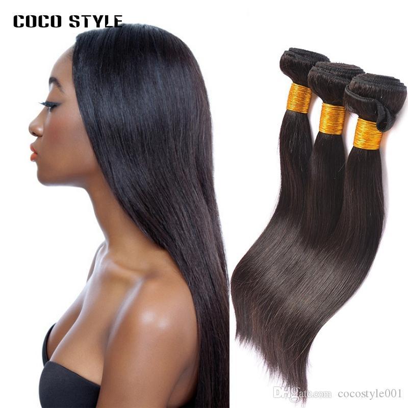 Sıcak Satış Remy Saç Düz 1B Doğal Siyah Saç Dokuma 3 Demetleri Kıvrılmış Hiçbir Dökülme Olabilir
