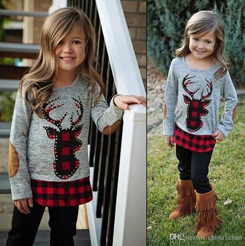 Christmas Baby Girl Clothes Sets INS Deer Printed Tops Pants 2PCS Set Girls Sport Suit Christmas Outfits Kids Clothes DHW1785