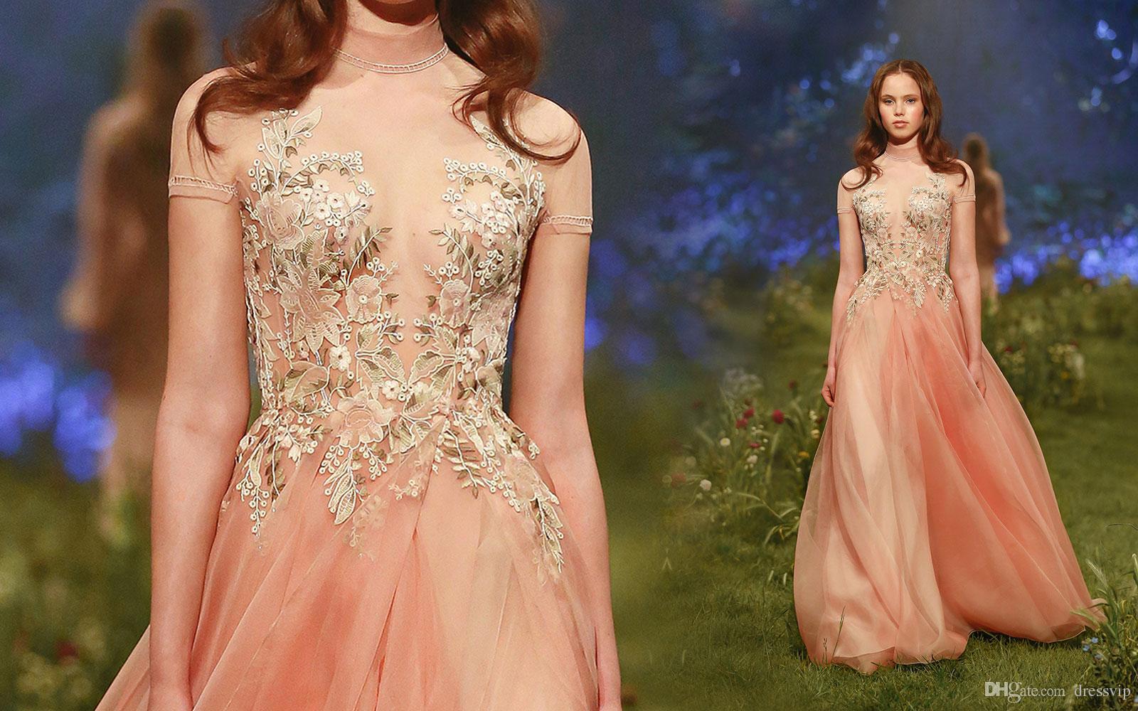 2018 Paolo Sebastian Prom Dress Long High Neck Tulle Applique Short Sleeve Formal Dress Party Wear Sexy Evening Gowns Vestidos De Quinceañer