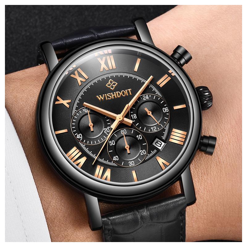 Großhandel WISHDOIT Herren Uhren Mode Lässig Sport Quarzuhr Männer Chronograph Uhr Mann Leder Business Armbanduhr Relogio Masculino Von Tuosu, $38.06
