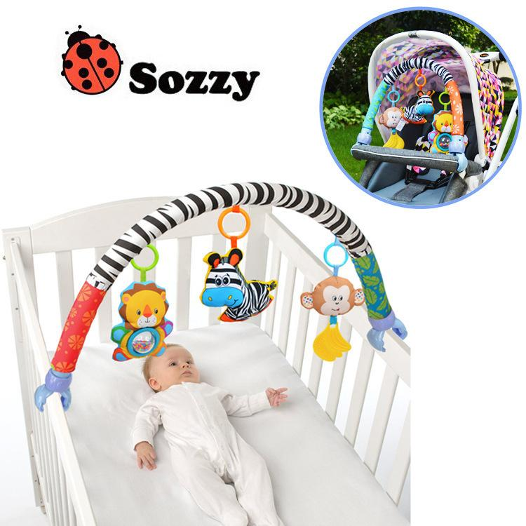 Sozzy Baby Stroller clamp bed clip Hanging Toys For Tots Cots seat cute cartoon plush Rattles 88CM