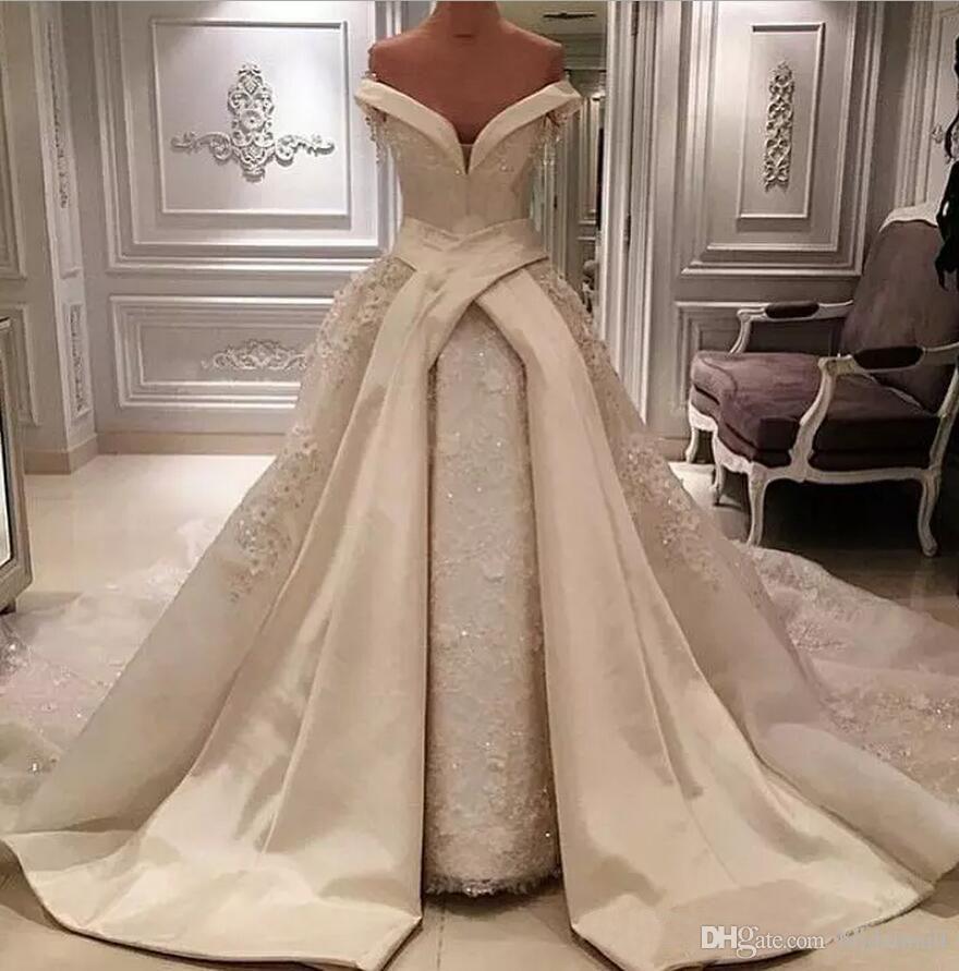 Schulterfrei Weiß Elfenbein Satin Brautkleider Overskirts 2020 Afrikanische Perlen Spitze Brautkleider Gericht Zug Brautkleider Vestidos De Novia