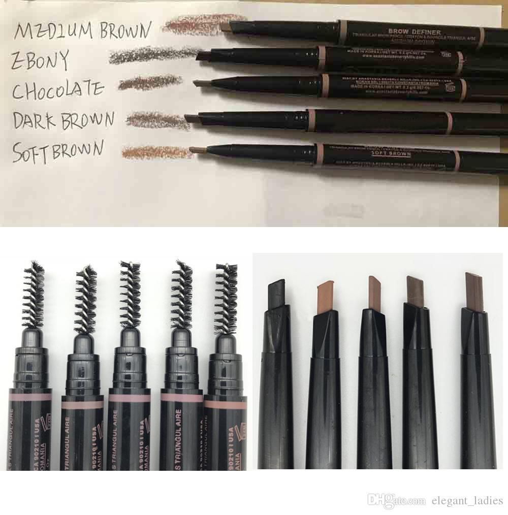 في المخزون ماكياج قلم الحواجب 5 لون الموضة بني متوسط الأبنوس الشوكولاته بني داكن لينة براون الحاجب نحيل الحاجب اينر epacket