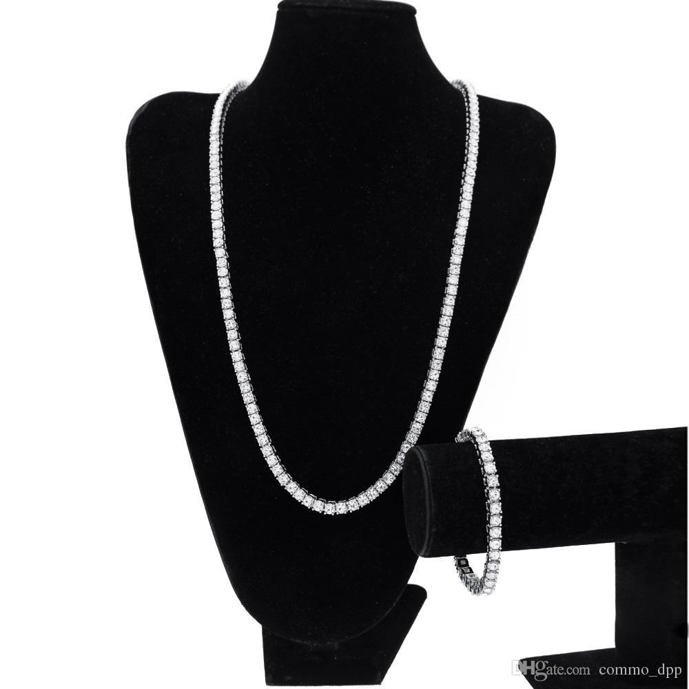 Bracelet de bijoux glacé 1 rangée Strass chaînes Vente des ensembles masculins masculins simulés de bijoux de diamant clair de diamant HIP Bling for Set Collier Hop Sjuh