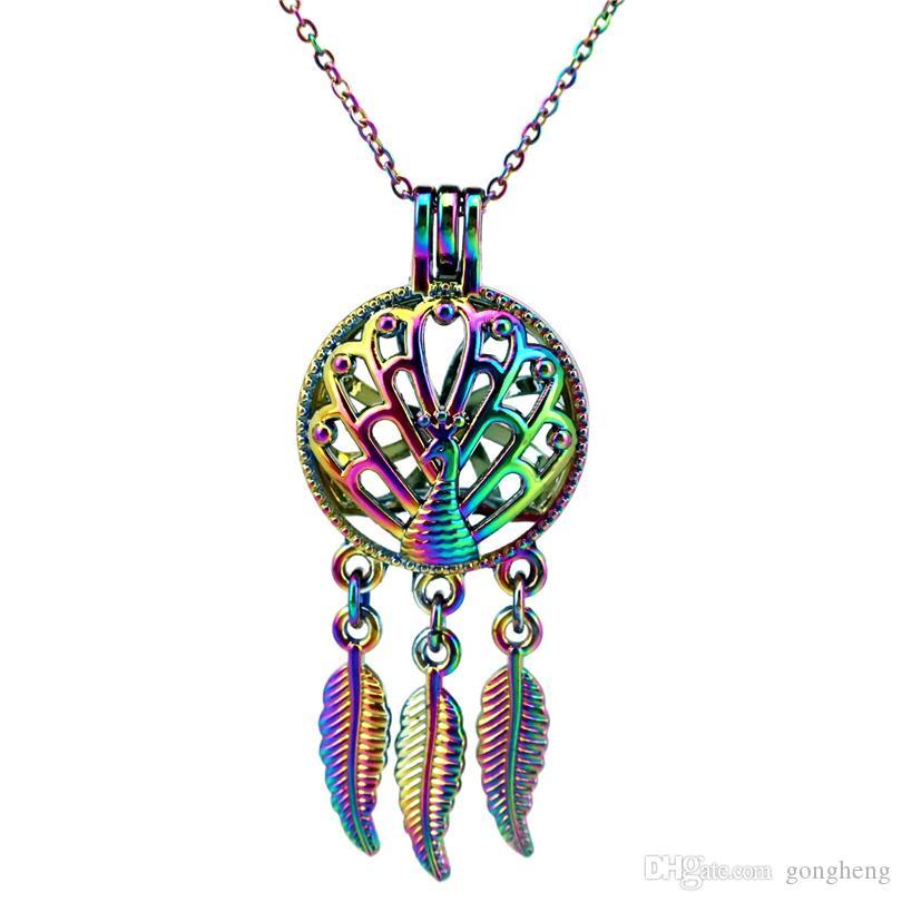 C728 Color del arco iris Atrapasueños Pavo real Hoja Perlas Jaula colgante Aceite esencial Difusor Aromaterapia Jaula de la perla Collar colgante Locket