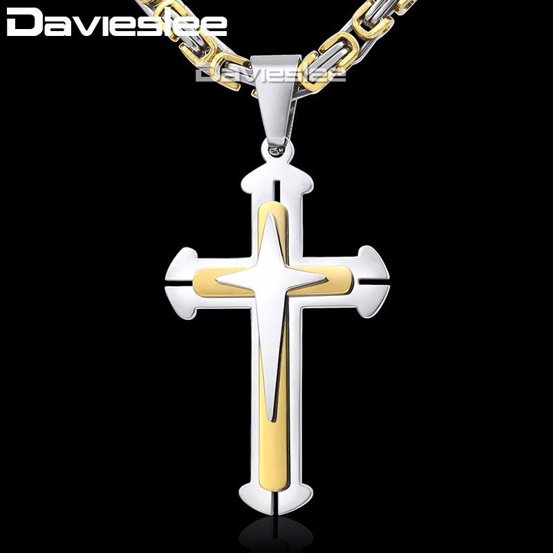 Cross Pendant Necklaces for Men Stainless Steel 3 Layer Knight Cross Mens Necklace Chain Silver Gold Black