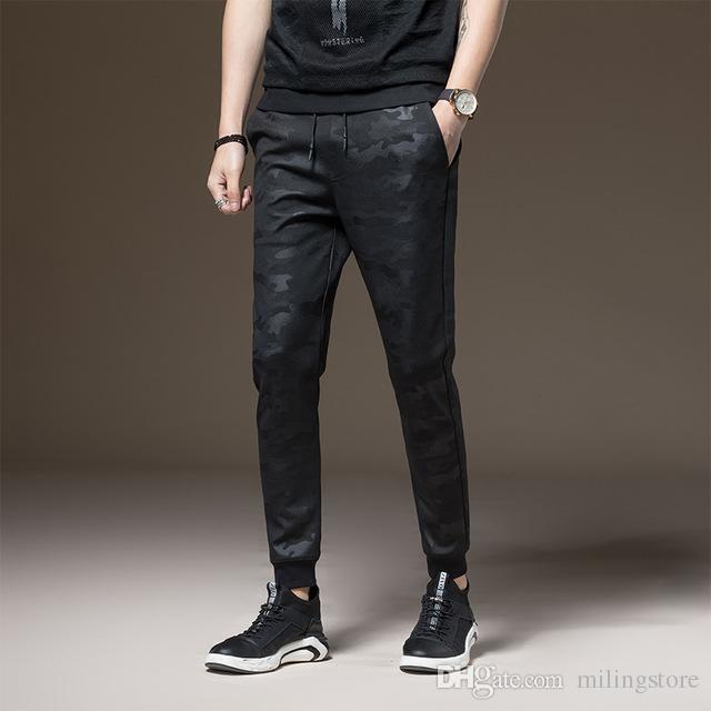 Pantaloni casual da uomo in cotone elasticizzato con pantaloni eleganti da uomo in cotone elasticizzato