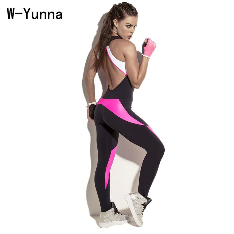 W-Yunna 2017 Sexy Bodysuit Rompers Womens Jumpsuit for Sporting Polyester Spandex Stretch Workout Playsuit Patchwork Backless