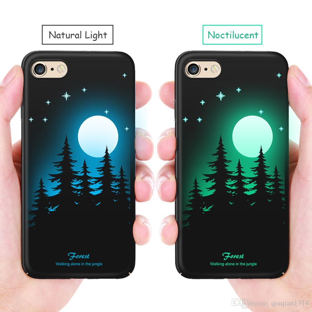 Custodia Luminosa IPhone 8 Plus Glow In The Dark Relief Pittura Fluorescente Che Cambia Custodia Rigida PC Custodia Protettiva La Schiena Da ...