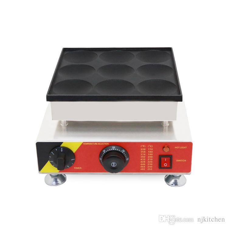 Commercial 110 v 220 v 9 trous 8 CM Gaufre Électrique Poffertjes Maker Machine Mini Crêpe Crêpe Baker Grill Matériel De Fer
