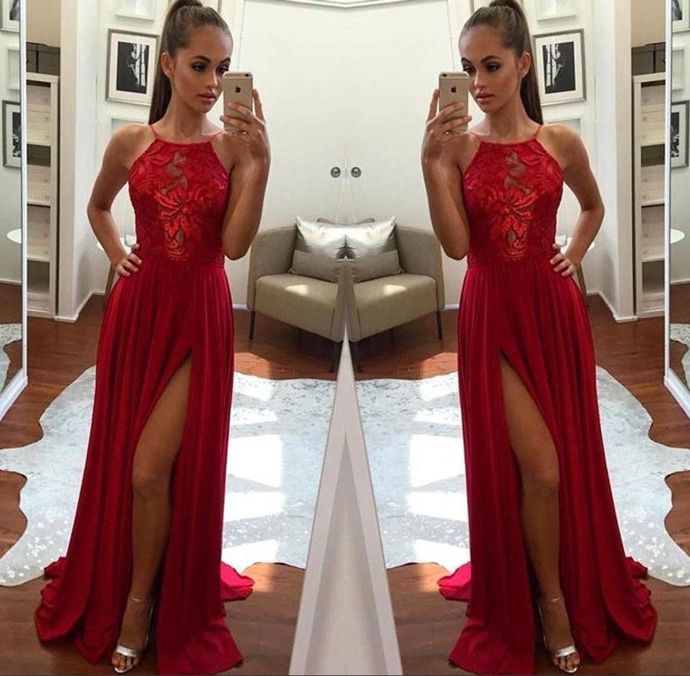 Großhandel 16 Lange Rote Prom Kleider Spitze Halfter Side Split Chiffon  Formale Abend Celebrity Party Kleider Sommer Strand Nach Maß Von