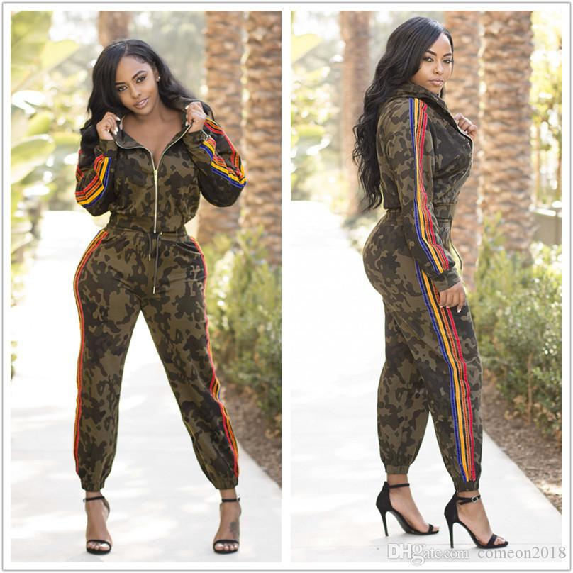 Designer Women Clothes CAMO 2 piece pants womens tracksuits zipper jackets drawstring striped side long pants two pieces sets outfits