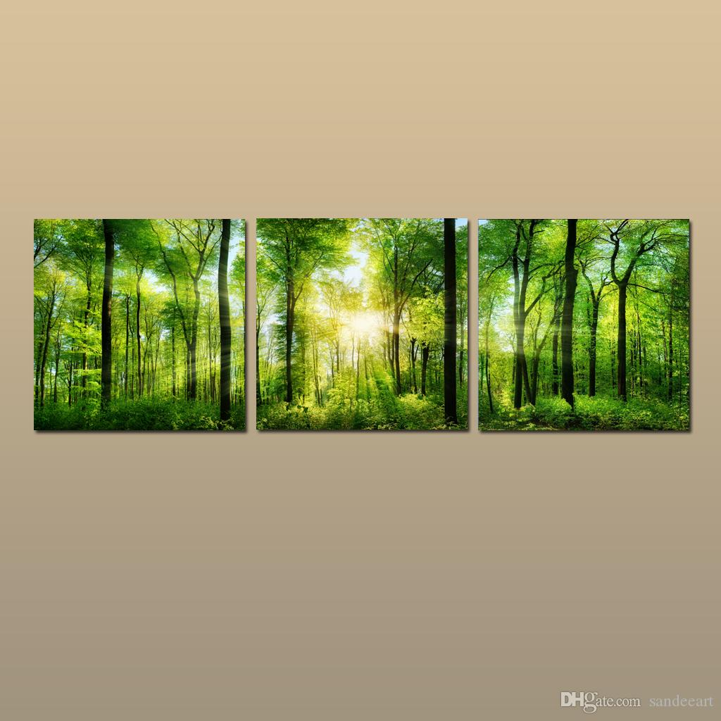 Framed/Unframed Hot Modern Contemporary Canvas Wall Art Print Painting Forest green landscape Picture 3 piece Living Room Home Decor ABC46