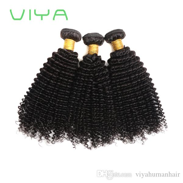 9A Unprocessed Human Hair Brazilian Kinky Curly Sew In Soft and Thick Virgin Hair Extensions 100g VIYA Remy Human Hair Weave Curly Single