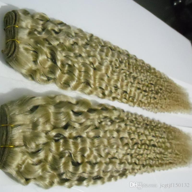 Blonde brazilian Hair Weave 4B 4C 200g curly Human Hair Extensions Non-Remy Hair 2PCS Weaving Bundles Machine Double Weft 613 Blonde