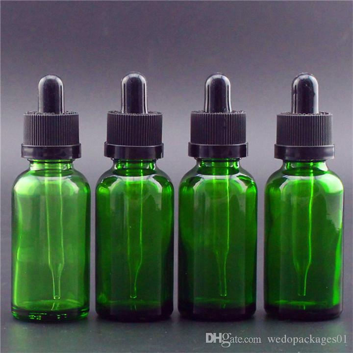 Glossy green ejuice glass bottle 30ml American Boston round dropper bottle with evident safty cap empty bottle for electronic cigarette oil