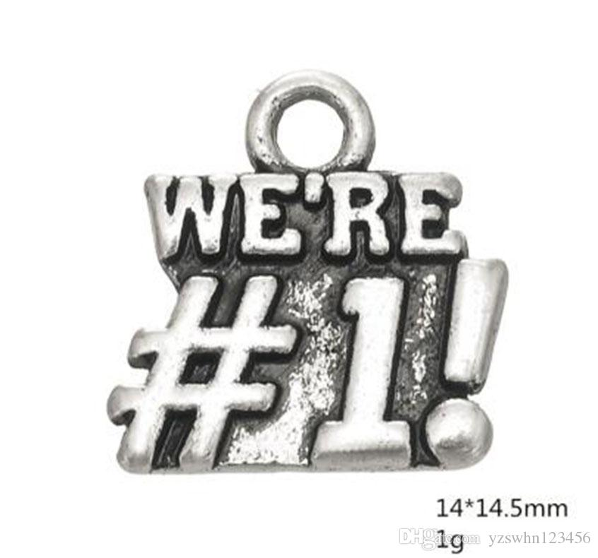 Alloy Word We are Number One Charm Antique Silver Plated