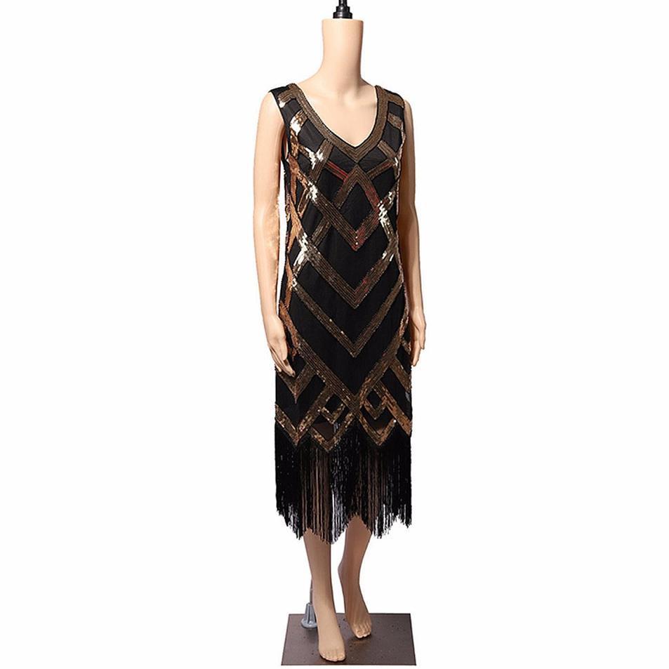 Vintage Women Dresses 2018 Clothes Sequins Costume Fringe Dinner Party Formal Gowns Ballroom Dresses