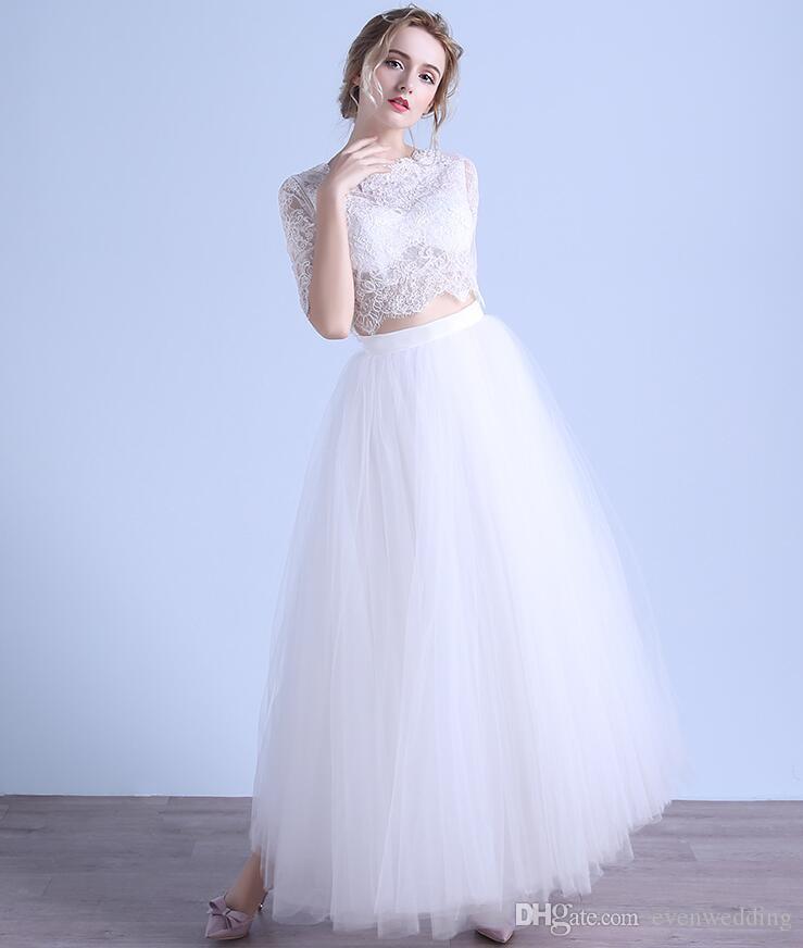스쿠프 넥 레이스 Tulle 2 피스 댄스 파티 드레스 파티 드레스 파티 드레스 파티 드레스