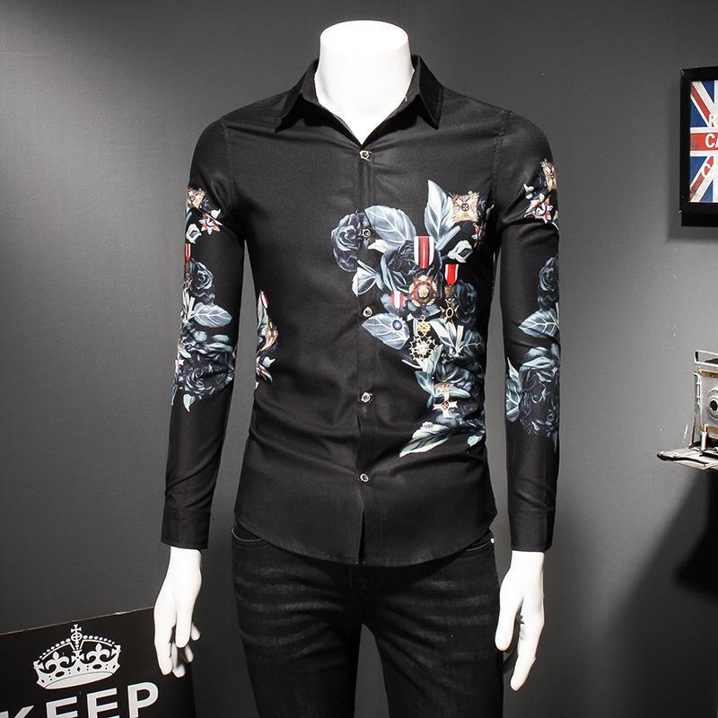Tendance de la mode Black Flower Shirt Hommes 2018 Printemps Floral Print Chemises Marque Vêtements Casual Business Hawaiian À Manches Longues Chemises