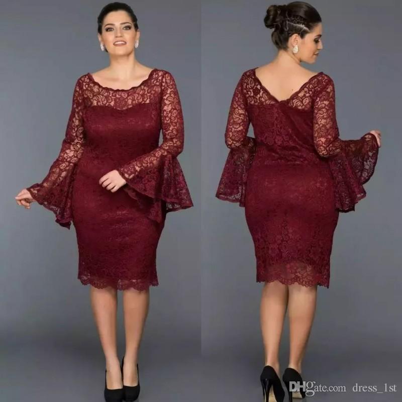 Plus Size Mother of The Bride Dresses 2018 Elegant Scoop Neck Mermaid Knee Length Long Puffy Sleeves Burgundy Lace mother off bride dresses