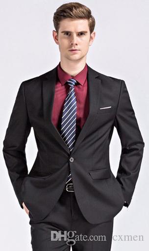 2018 Latest coat pant Designs Black men suits for wedding slim fit suit Jacket Groomsmen business Formal Blazer Jacket Pants