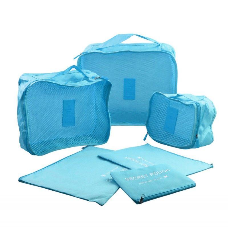 6 Adet / takım Seyahat Çantası Giysi Düzenli Saklama Çantası Kutusu Bagaj Bavul Kılıfı Sutyen Kozmetik Iç Çamaşırı Su Geçirmez Organizatör Konteyner