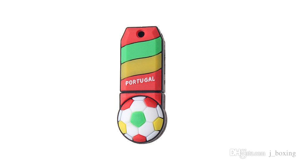 Free Shipping 2018 World Cup Cartoon Football Flag 16G 32G USB 2.0 Flash Drive Soccer Portugal Team Fans Gift for PC Laptop USB Memory Stick
