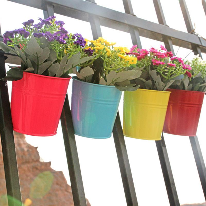 Hanging Flower Pot Hook Wall Pots Iron Flower Holder Balcony Garden Planter Home Decor Plant Pots 10 Colors