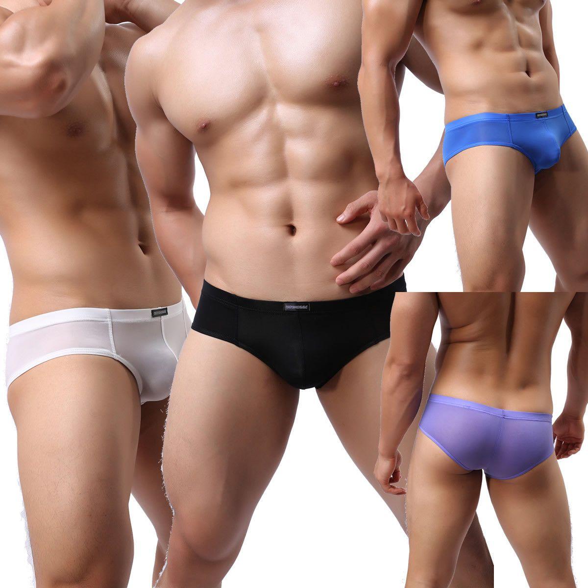 Low Rise Briefs Underwear Bulge Pouch Nylon Spandex Mens Underpants Breathable