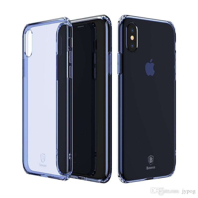 Baseus For iPhone X Defender Case High Impact Heavy Duty Hard Rugged Rubber Simple Series Case Anti-fall TPU Transparent Case for iPhone X
