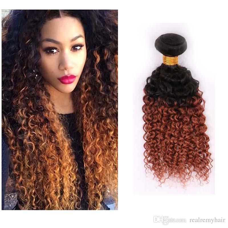 Two Tone Ombre Peruvian Virgin Hair Extensions 1B/30# Ombre Brown Blonde Peruvian Kinky Curly Human Hair Weave 3 Bundles