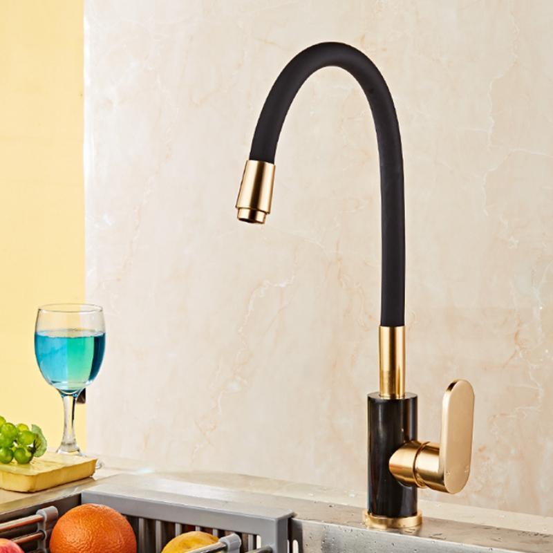 Gold Space Aluminum Kitchen Faucet Single Handle Swivel Sink Water Mixer Tap