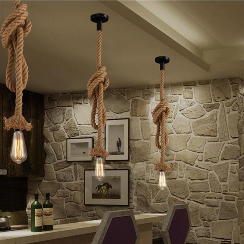 Vintage Rope LED Pendant Lights E27 Industrial Loft Rope Ceiling Lamp for Interior Cafe Restaurant Bar Corridor Decoration Lighting
