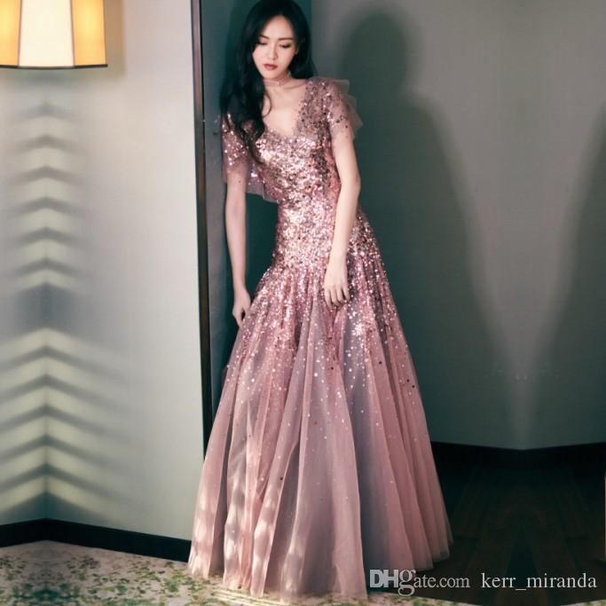 2020 Nowe gwiazdy z cekinami Prom Dresses Bean Sand Color High-end V-Neck Długi rękaw Party Suknie wieczorowe Plus Size DH035