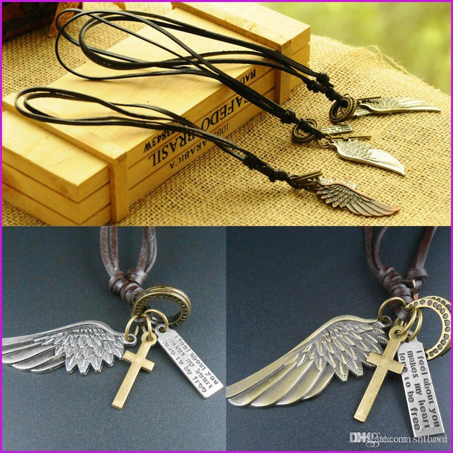 Retro Jewelry Angel Wing Feather Pendant Necklace Men Personality Leather Rope Alloy Clavicle Casual Vintage Punk Adjustable Necklace
