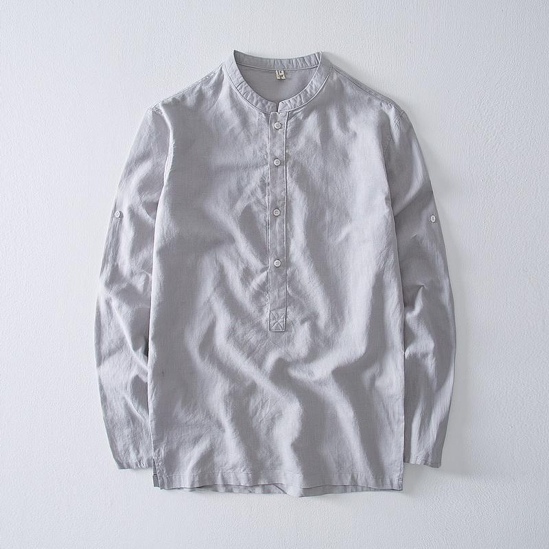 Suehaiwe's marque automne chemise à manches longues en lin et coton hommes mode casual col montant chemises grises mâle 4XL en tête camisa