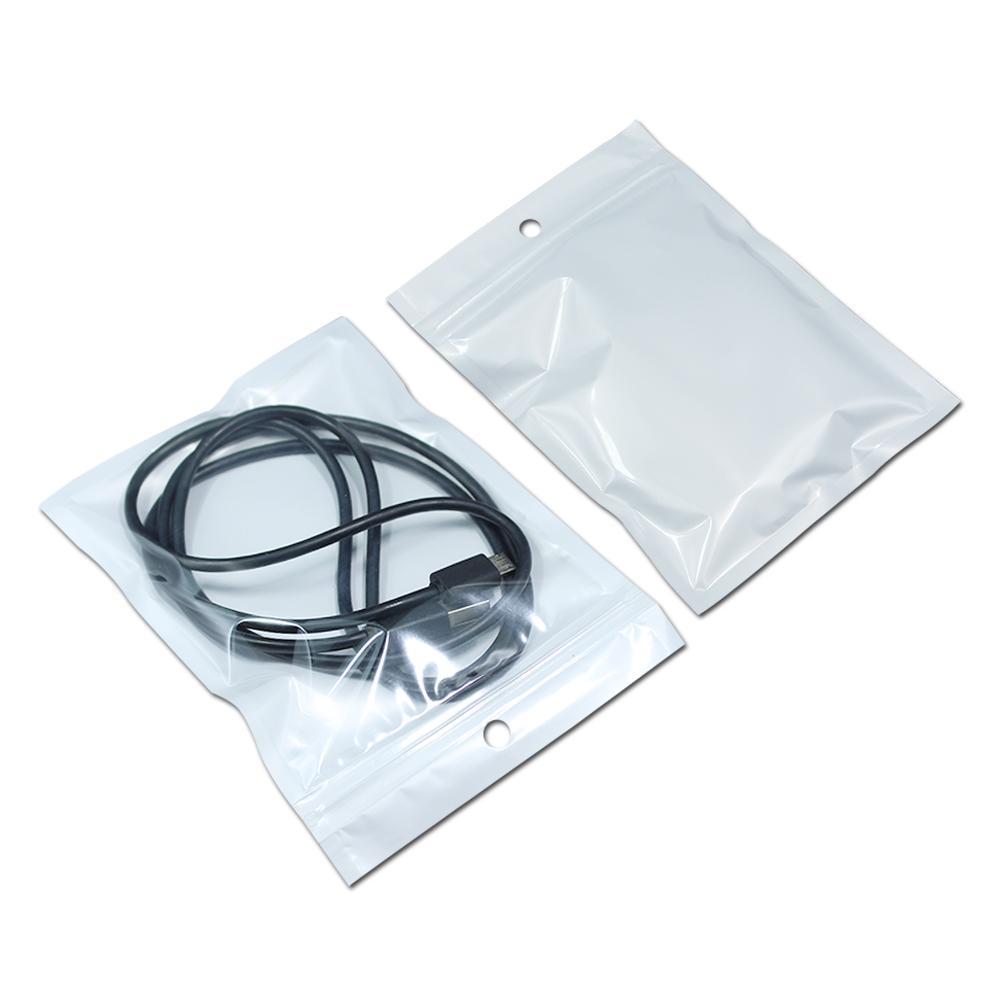 도매 10.5 * 15cm 화이트 / 지우기 자체 인감 지퍼 플라스틱 이벤트 포장 가방, 지 플락 Zip 잠금 가방 소매 패키지 W / Hang Hole